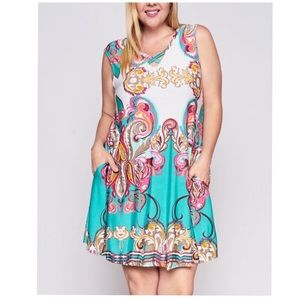 Dresses & Skirts - PLUS SIZE 1X-3X Printed Swing Dress